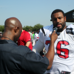 J Mac talks to Texans offensive tackle Duane Brown. Brown, who got married in the offseason, is expected to be one of the best in the league.