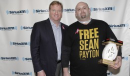 "Saints fan ""2009ring"" uploaded this picture of him with NFL commissioner Roger Goodell to SaintsReport.com, following a SiriusXM ""Town Hall"" event Monday in which he asked about Bountygate, before sneaking this pose with the league's top dog."